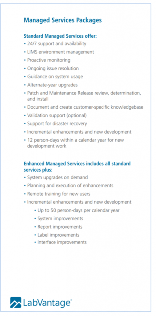 LIMS Managed Services - LabVantage Packages