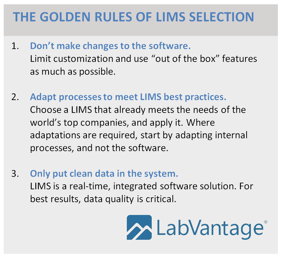 What are the Golden Rules of LIMS selection?