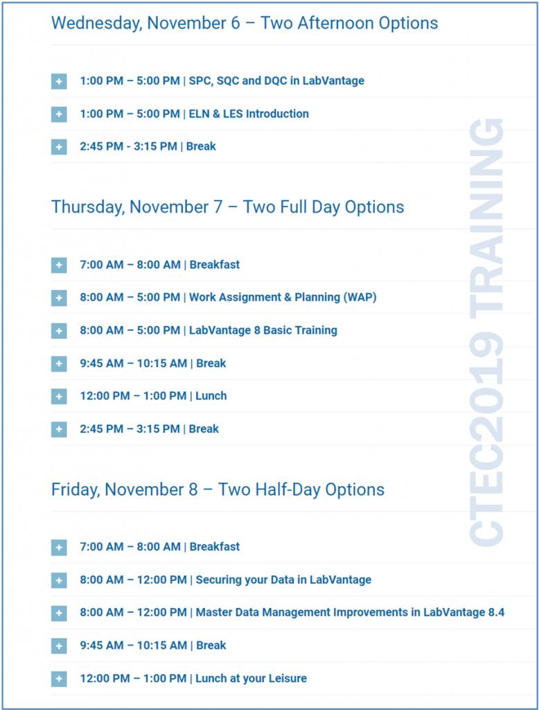 CTEC2019 Training Schedule