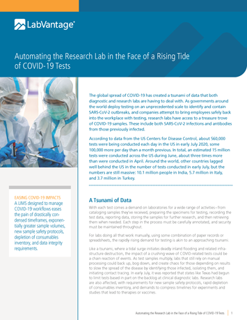 Automating the Research Lab in the Face of a Rising Tide of COVID-19 Tests