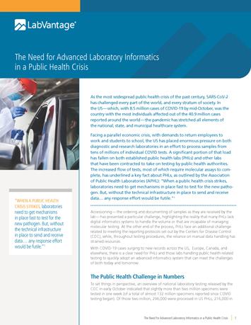 The Need for Advanced Laboratory Informatics in a Public Health Crisis