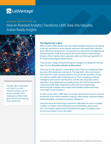 How AI-Powered Analytics Transforms LIMS Data into Valuable, Action-Ready Insights